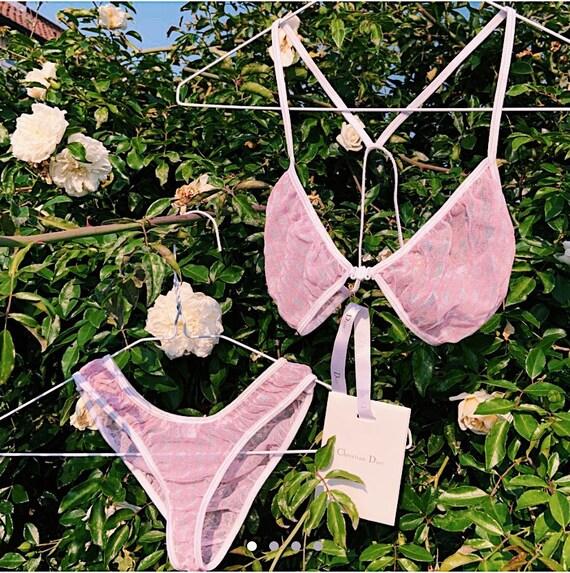 Vintage Christian Dior pink and white mesh monogra