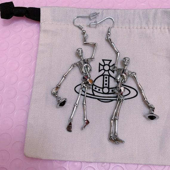 Vivienne Westwood silver skeleton earrings