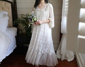 Victorian Vintage Embroidery Lace Women 39 s Long White Nightgowns Vintage Chemise Nightgown PlusSize Cotton Nightwear Victorian Nightgown