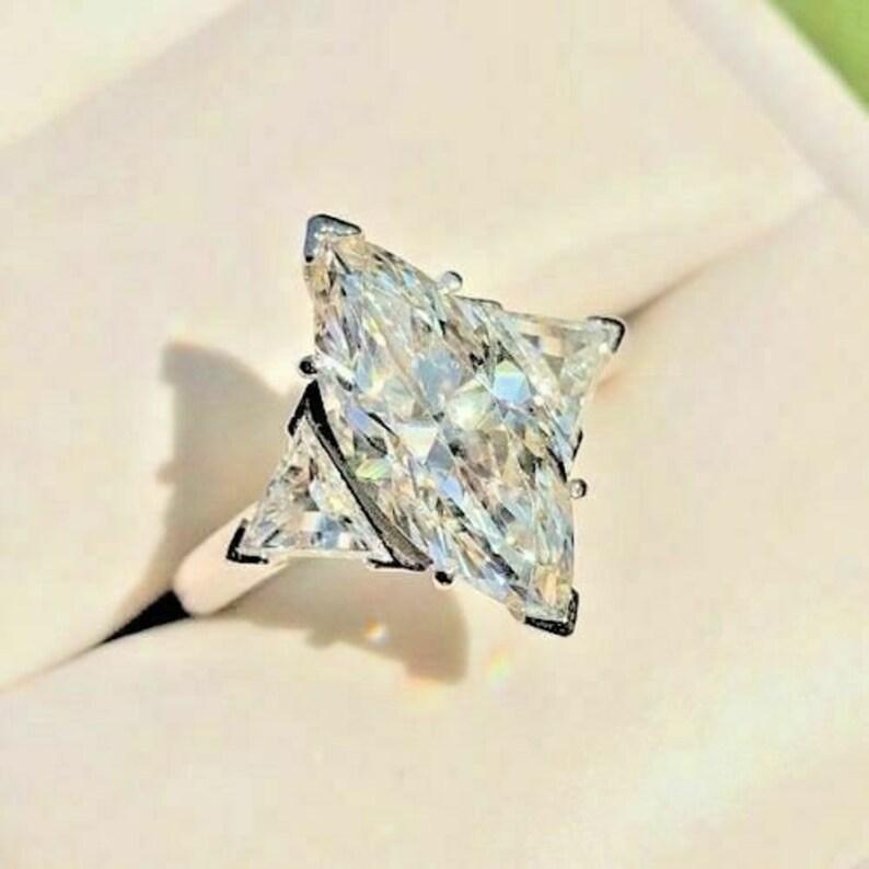 Diamond Ring 3.00 Ct Marquise Cut White CZ & Moissanite image 0