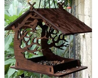 Wooden Bird Feeder, Vintage Wooden Birdhouse Attractive Outdoor Garden Decoration