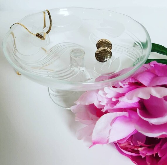Lace Butterfly Glass Trinket Bowl Ring Dish