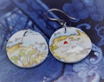 Bahamas Lover Bahamas Map China Pendant Eleuthera Lover Clipper Ship in the Ocean on Eleuthera Travel Jewelry Island Jewelry