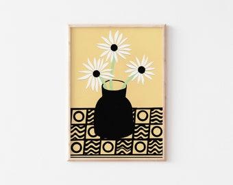 A3 Daisies in Black Vase, Art Print, Gallery Wall Art, Flowers Wall Art, Botanical Wall Art, A3 Art Print, A3 Wall Art, Colourful Art Print