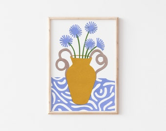 Blue Flowers Art Print, Gallery Wall Print , A4 Art Print, A4 Wall Art, A5 Art Print, A5 Wall Art, Floral Wall Art, Colourful Art Print
