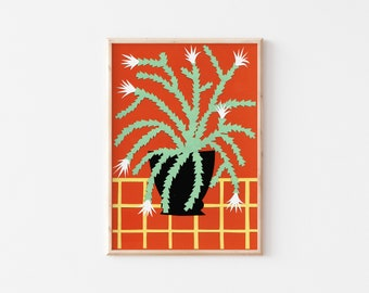 A3 Easter Cactus Print, Cactus Art Print, House Plant Art Print,  Botanical Cactus Illustration, A3 Art print, A3 Wall Art, Colourful Print