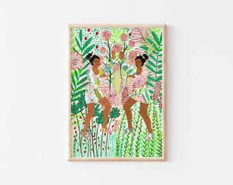 Dancing Twins Art Print, Springtime Art Print, Gallery Wall Print, A4 Art Print, A4 Wall Art, A5 Art Print, A5 Wall Art, Colourful Art Print