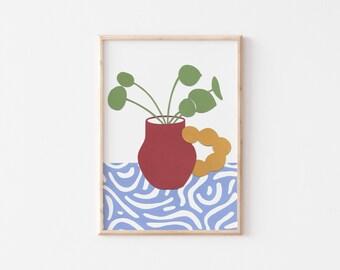A3 Chinese Money Plant Art Print, Gallery Wall Print , A3 Art Print, A3 Wall Art, Art Print, Botanical Wall Art, Colourful Art Print