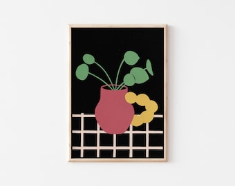Chinese Money Plant Art Print, Gallery Wall Print, A4 Art Print, A4 Wall Art, A5 Art Print, A5 Wall Art, Floral Wall Art, Colourful Print