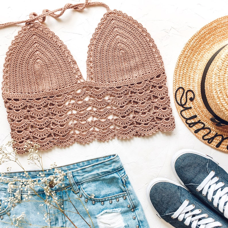 21st birthday gift for her Crochet bralette Cotton crop top in boho style for women