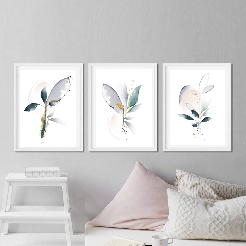 Fine art prints set of 3 watercolor art Gallery wall art gift for sister Silk anniversary gift Abstract art Nursery wall decor FREE SHIPPING