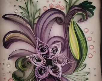 Paper Quilled Flower Artwork - Wall Hanging - Handmade