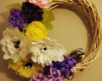 Handmade Spring Wreath - featuring paper flowers/day lilies and pine cones