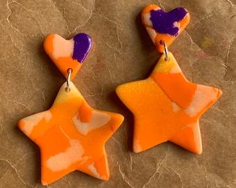 Small star charm Studs - Orange and Purple