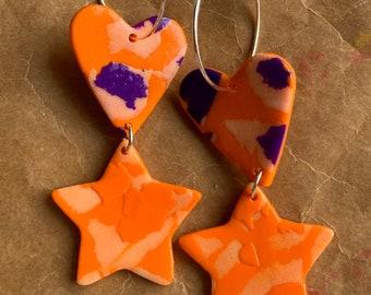 Star and heart charm hoops - Orange and Purple