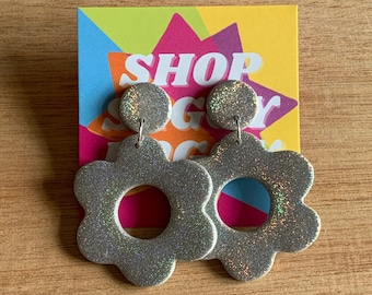 Large Holographic Flower Mod Hoops / Holographic Drop Earrings / Polymer Clay Earrings