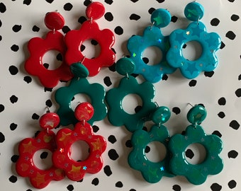 Large Flower Drop Earring - Polymer Clay / Blue / Red / Green