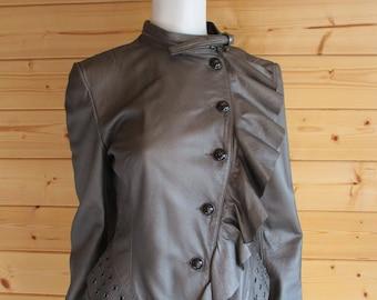 Vintage Karen Millen Leather Jacket - Size 14, Unusual waterfall design
