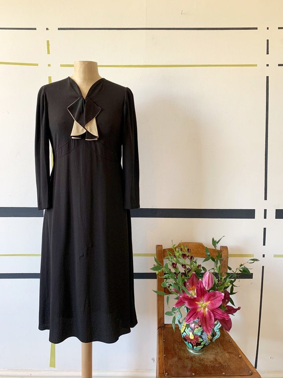 1930's  Crepe Dress with Pierrot style collar