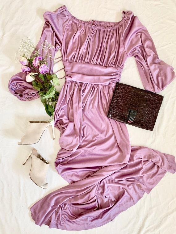 1970s Grecian Lilac Maxi Dress