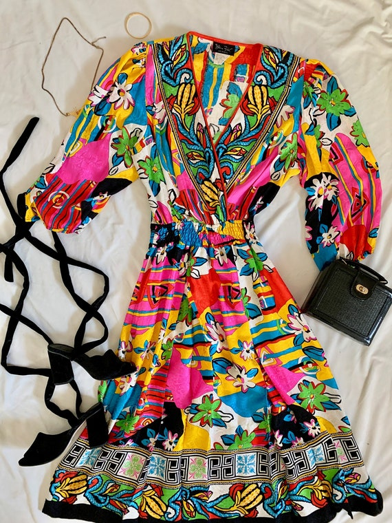 1980s Multicolored Diane Freis Original Dress