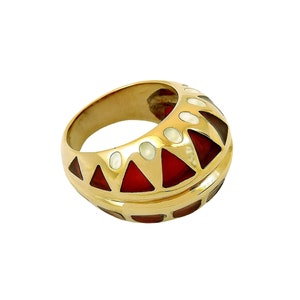 nickel free RED\u00d3 FLORENCE 1989 with traditional enamels 24 Kt gold plated bronze Ring LUCIA handmade in Florence