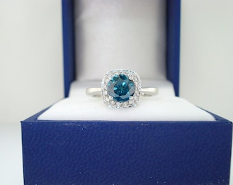 Birthday Gift 2 Cts Blue Diamond Ring Around With White Accents in Sterling Silver Ring Clarity Certified Anniversary gift
