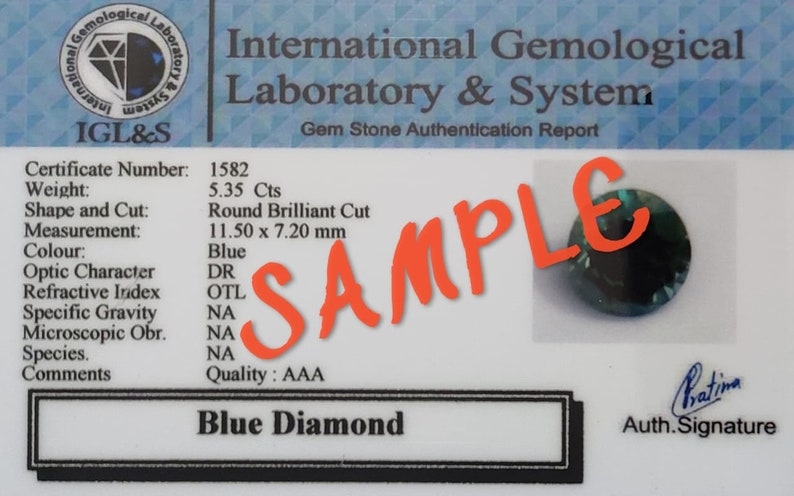 2.80-3.00ct Blue Diamond Rose Cut Round Faceted Carat Clarity Certified