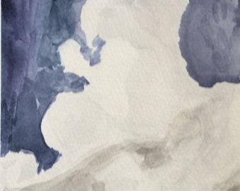 Cumulonimbus Calvus watercolour painting on A5 paper original art