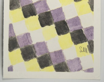 Non-binary pride flag chequered pattern A5 watercolour original art number one