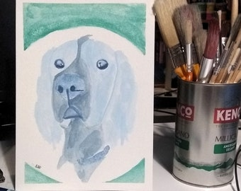Dog portrait in blue, watercolour painting of a cocker spaniel on A5 paper