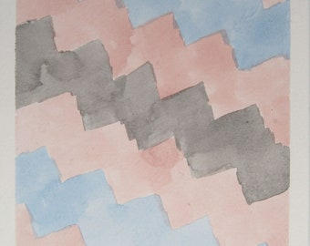 Black trans pride flag zig zag pattern A5 watercolour original art