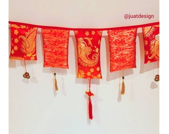 Double-sided Christmas Cotton Bunting HandmadeRed Robins Nordic Xmas