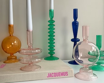 Colour Glass Candlestick   Hand Blown Retro Candle Holders   Abstract Candle Holder   Home Wedding Housewarming Party Table Decoration