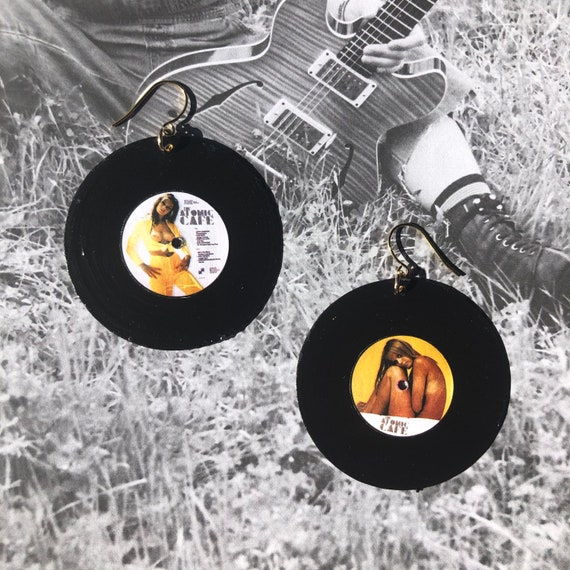 Upcycled Vinyl Record Earrings-Atomic Orange and Yellow Check Drops