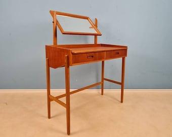 Mid Century Modern Danish Teak vanity table/ make up table  from the 60s