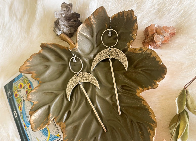 Antique Silver Moonstone Statement Earrings
