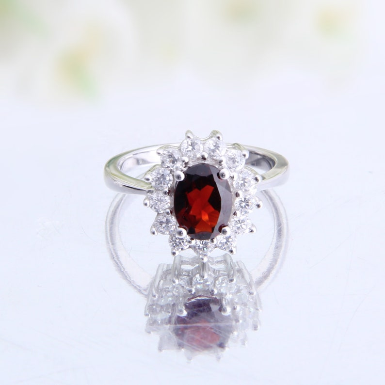 Natural Red Garnet Gemstone Halo Statement Ring Sterling Silver gift for Her