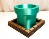 3D Printed Mario warp Pipe succulent planter with brick tray
