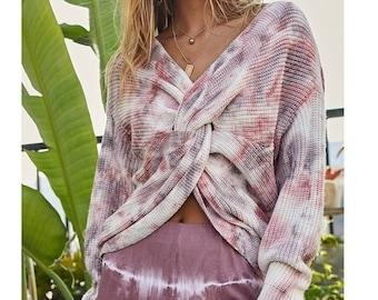 Twist Front Tie Dye Sweater