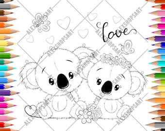 Two cute koalas in love - DIGITAL STAMP for scrap booking, coloring page, card making. JPEG files. Digital file.