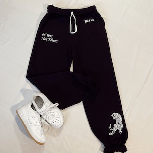 Spooky Pals Cute Halloween Embroidered Sweatpants Cat Ghost Pumpkin