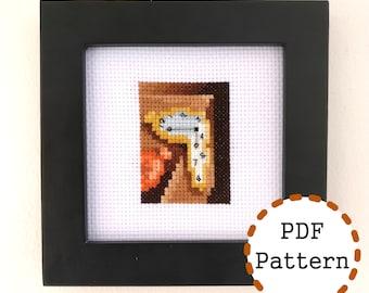 Persistence of Memory, small mini art cross stitch pattern, Salvador Dalí