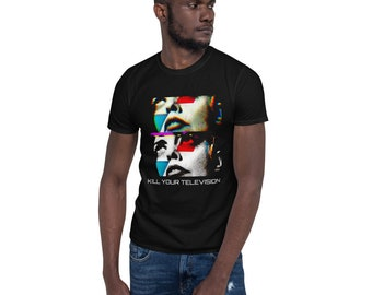 """Black T-shirt with art print """"Kill Your Television"""""""