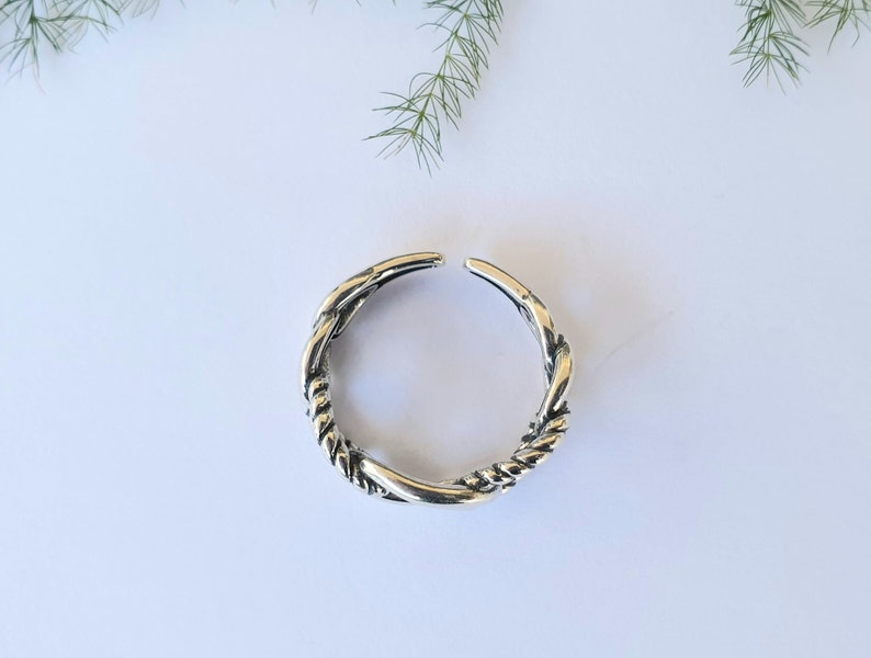 Chain Ring 925 Sterling Silver Ring Geometric Hollow Ring Vintage Ring Free Size