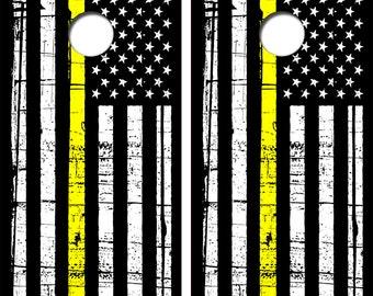 American Flag Thin Yellow Line Cornhole Board Decal Wrap Wraps