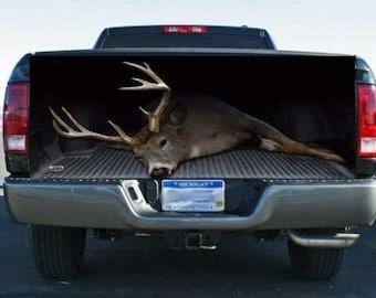 Huge Whitetail Deer Buck Truck Tailgate Wrap Vinyl Graphic Decal Sticker Wrap