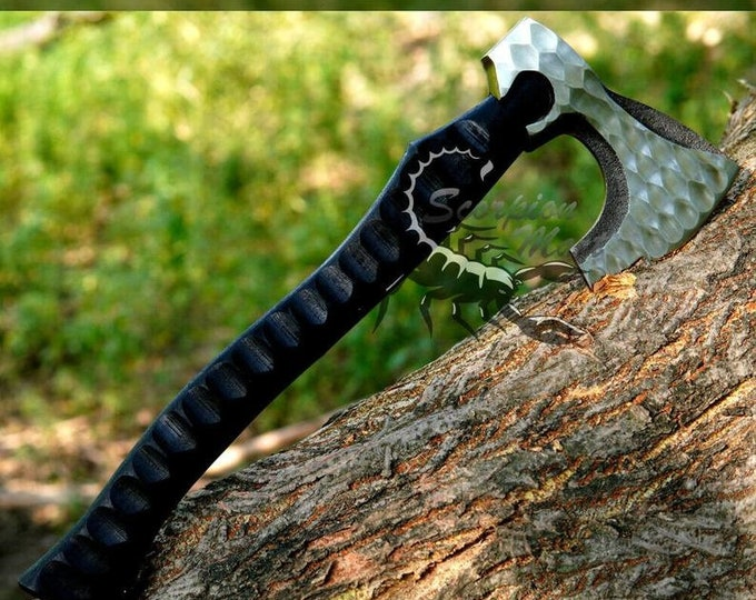 Featured listing image: Black Damascus Steel Viking Inspired Hunting Camping Survival Tactical Axe