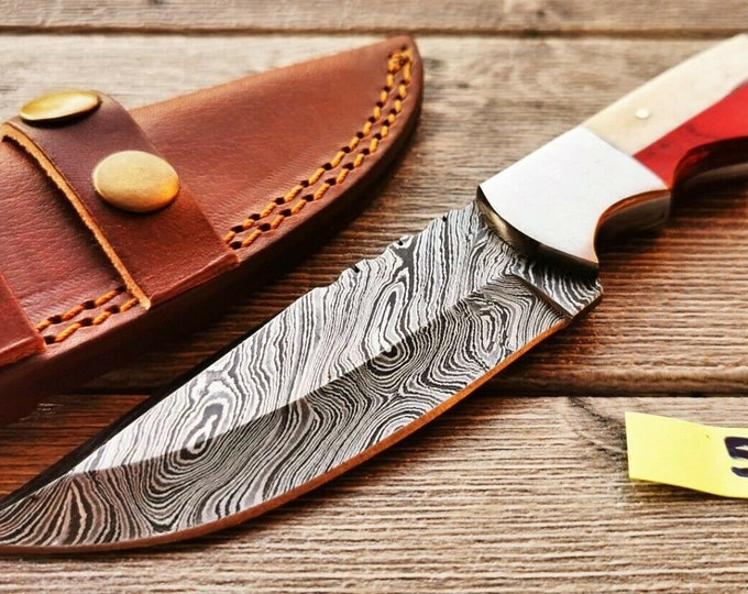 Featured listing image: Texas Damascus Steel Knife. Camping Hunting Survival Tactical Gear