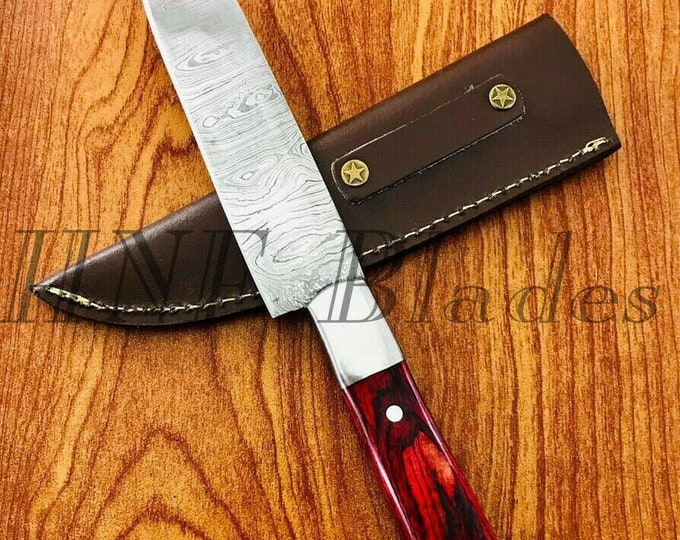 Featured listing image: Damascus Steel Wood Handle Camping Hunting Chef BBQ knife